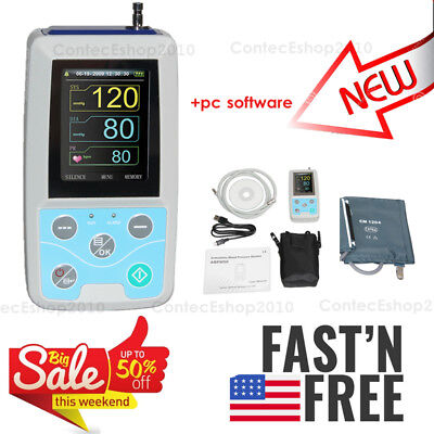 NIBP Holter 24h Ambulatory Blood Pressure Monitor with USB PC SW,Upper Arm Adult