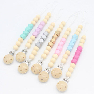 Wooden Beads Teether Chain Dummy Teething Baby Chew Beads Plastic Pacifier