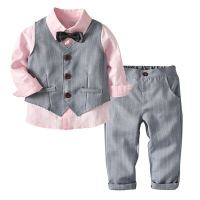 Toddler Kid Baby Boy Shirt Tops Coat Pants Outfits Set Gentleman Blazer Suit US