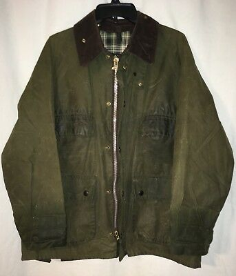 BARBOUR Classic Bedale Waxed Jacket, Green Size 40 Medium Brown Corduroy Collar