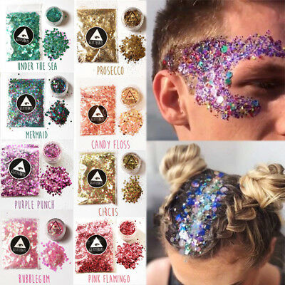 10g/bag Chunky Glitter Mixed Holographic Flake Body Art Nail Hair Eye Cosmetic
