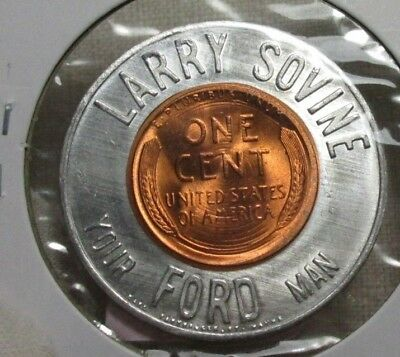 Larry Sovine ~ Your Ford Man ~ Maverick 1957 D Encased Cent Good Luck Penny