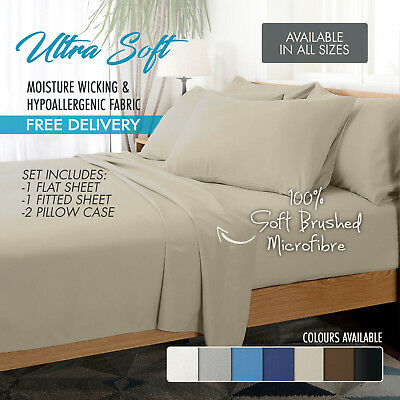 1000TC Ultra Soft 4 Pc Flat & Fitted Bed Sheet Set Pillowcases Queen Cream