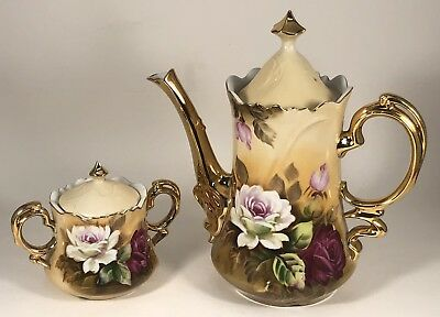 Vintage Lefton 1866 & 1867 Heritage Rose Chocolate Coffee Pot and Sugar Bowl