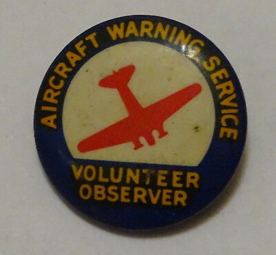 1942 WWII Aircraft Warning Service Volunteer Observer Pin Homefront