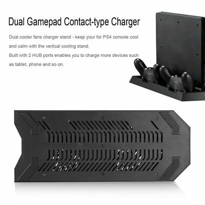 Stand Charging Dock Station for PS4 Pro with Dual Cooling Fan 3 USB Interface HS