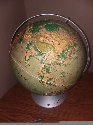 "Vintage Nystrom Sculptural Relief World Globe 16"" School Edition Map 39-47"