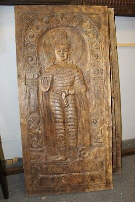 Standing Buddha Wall Panel Hand Carving Wooden Door Panel Indian Wall Sculpture