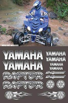 Raptor Yamaha White/Silver Full Color 16pc Quad ATV Decal Sticker Graphics 660R