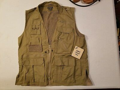 Humvee Safari Photo Fishing Hunting Black Mens Vest Size 21 Pockets