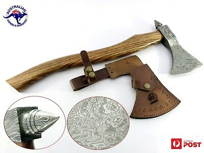 "1095 Damascus Steel Custom Handmade 22"" Axe Tomahawk - Rose Wood Handle A39"