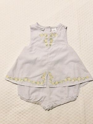 e0b546470af8 Baby Girl First Impressions Romper Dress Baby Blue Plaid Yellow Floral 6-9  Month