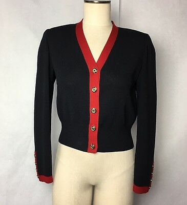 St John Collection Marie Gray Black & Red Knit Jacket Logo Buttons Sz S