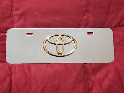 Toyota  Chrome Stainless Steel Mini Front Licence Plate Logo Emblem Frame 3D New