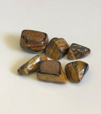 6x PIECES OF MIXED SIZE TUMBLED BROWN TIGERS EYE GEMSTONES