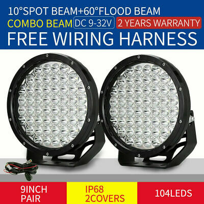 9inch Pair 99999W Cree LED Driving Lights COMBO BEAM Red Round Truck 4x4 SUV ATV