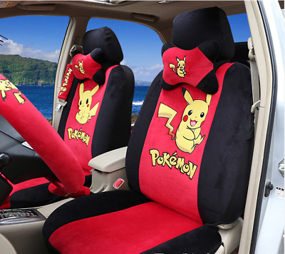 18 Piece Black And Red Pokemon Pikachu Car Seat Covers
