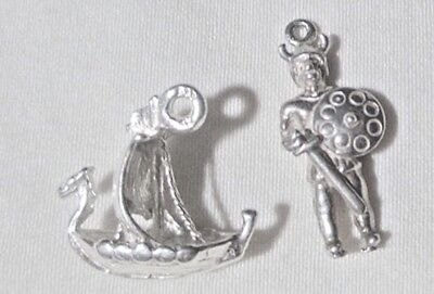 2 Estate Vtg 60s-70s Ster CHARMS: 3d VIKINGS! Viking WARRIOR + Dragon LONGBOAT