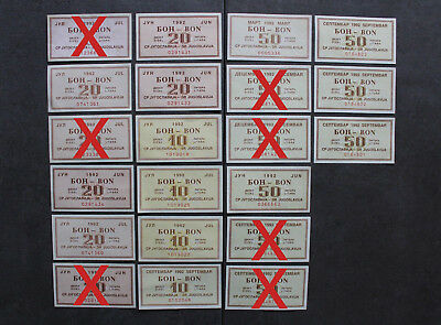 Yugoslavia Serbia Grand LOT of Civil War GAS PETROL FUEL Coupon Vouchers UNC