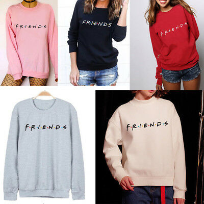 US New Womens FRIENDS Print Hoody Sweatshirt Casual Pullover Sweater Jumper TOPS