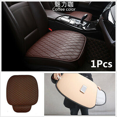 1x Coffee PU Leather Car Front Seat Cover Cushion Four Season Seat Protector Pad