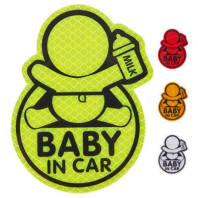 Reflective Baby On Board Baby in Car Window Bumper Sticker Vinyl Decal Cute Sign