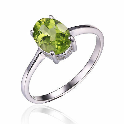 1.3ct Gorgeous Genuine Oval Peridot Solid Sterling Silver Ring Size 7 Ladies