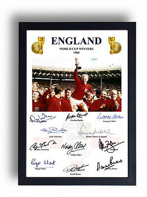 Fully Signed England 1966 World Cup Final Print Bobby Moore Ray Wilson Alan Ball