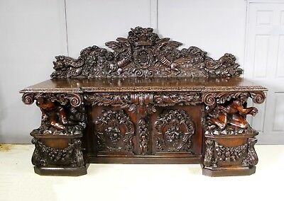 A Magnificent 19Th Century Carved Oak And Walnut Sideboard