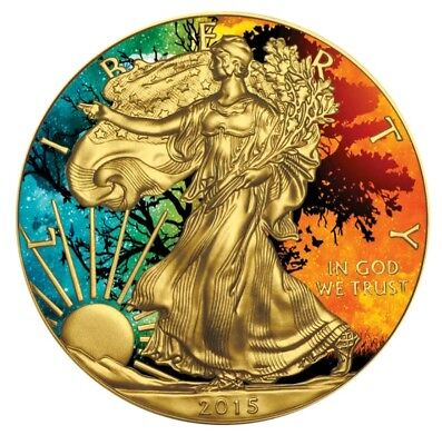 """2015 AMERICAN EAGLE """"PARADOX SEASONS"""" Colorized/24K Gold Gilded 1oz .999 Silver"""