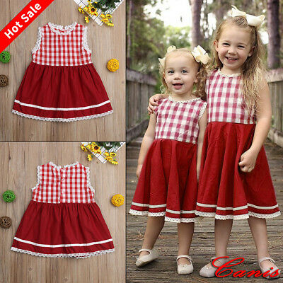 UK Xmas Newborn Kid Baby Girls Lace Plaids Romper Bodysuit Dress Outfit Clothes