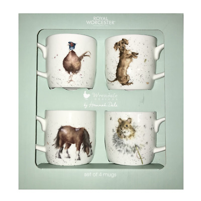 Wrendale Designs Mugs by Royal Worcester Fine Bone China GIFT SET OF 4 Mugs
