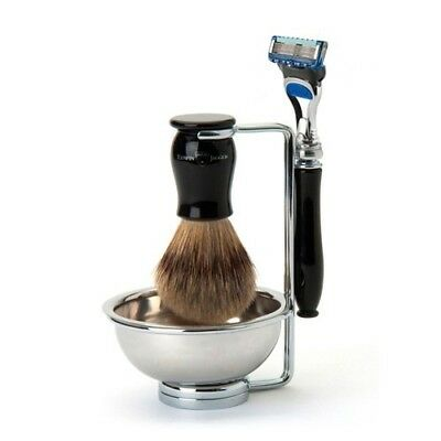 Edwin Jagger Chatsworth 4 Piece Shaving Set - Razor, Best Badger, Bowl & Stand