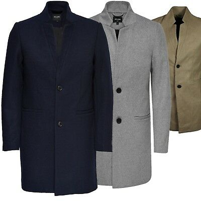 30794bbf19e Mens Only & Sons TRENCH COAT Max Wool Classic Long Jacket Winter OverCoat  Parka