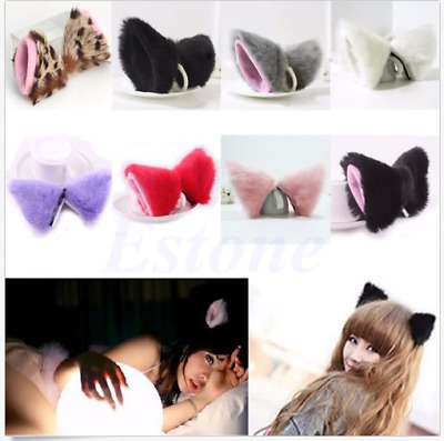 Anime Neko Hair Clip Cosplay Halloween Party Cat Fox Ears Long Fur Orecchiette