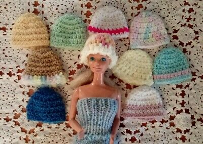 Bulk lot Barbie Doll HATS  Handmade.NEW.10 different colours Clothes Accessories