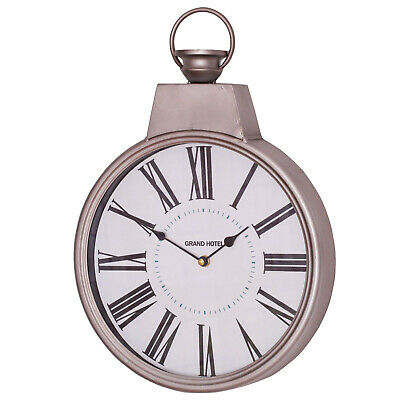 Metal Vintage Silver Pocket Watch 44cm Wall Clock with Glass Front