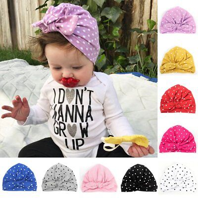 Infant Newborn Kids Baby Boy Girl Rabbit Bow Knot Turban Cotton Beanie Hat Cap