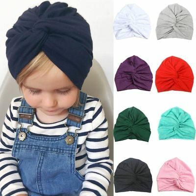 Toddler Baby Girl Hat Cotton Soft Turban Knot Headband Newborn Cap Headwear