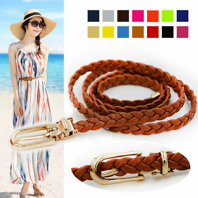 Womens Weaved Narrow Thin Braided Waistband Woven Slim Buckle Waist Belt Boho