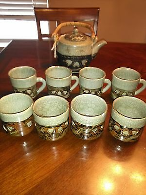 Older Double Walled Green Japanese Tea Set 8 Cups and Tea Pot Galloping Horse