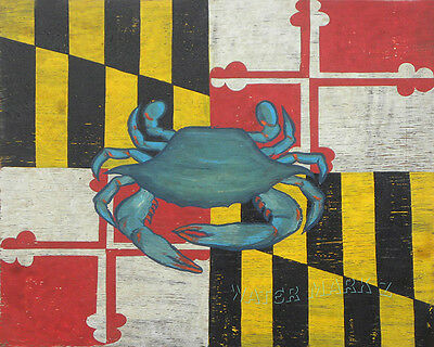 Maryland Flag & Chesapeake Bay Blue Crab  art decor print vintage  style