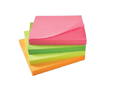 """3"""" x 3"""" Memo Pad Sticky Post It Notes 76 x 76mm Assorted Self Removable Colored"""