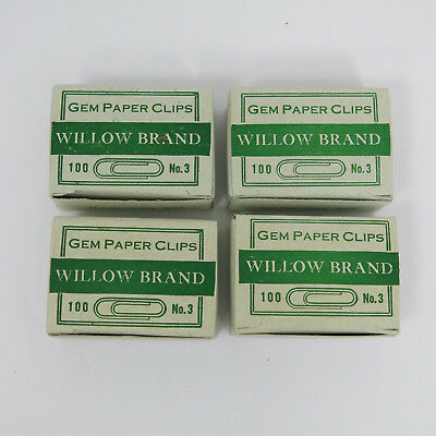 4 WILLOW BRAND NOESTING GEM Vintage No 3 Paperclips 100 Clips Metal Paper Clip.