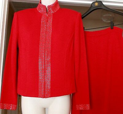 St JOHN EVENING by Marie Gray DARK bright RED Knit long SKIRT  SUIT  Size 6.