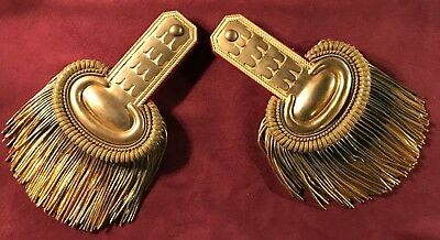 Pair of Continental or French Antique Military Gold Fringe Epaulettes