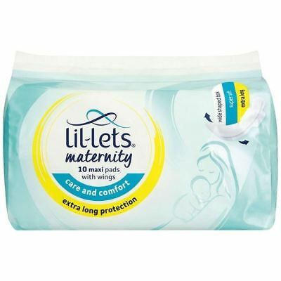 Lil-lets Maternity 10 Maxi Pads with Wings 1 2 3 6 12 Packs