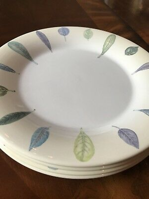"SET of 4 PORTMEIRION Seasons Leaves 11"" PLATE BEIGE DINNER Large Round"