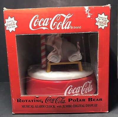 Coca Cola Polar Bear Rotating musical alarm Clock north pole 1995 NIB