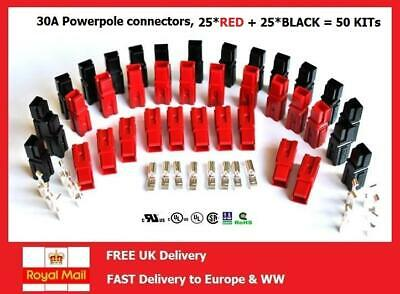 30 Amp Interlocking Power Connectors, Red and Black - 25 SETS